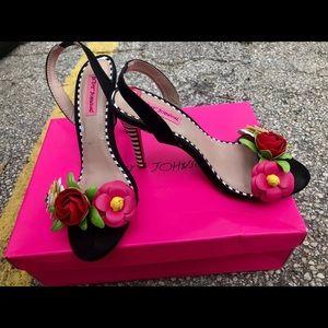 Betsey Johnson Floral 3d Sling Back Heels